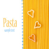 Spaghetti and pasta in the form of heart Stock Image