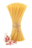 Spaghetti Pasta and Garlic Stock Photography