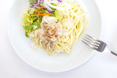 Spaghetti pasta with green salad Stock Photography