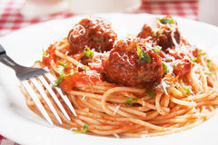 Spaghetti pasta and meatballs Royalty Free Stock Images