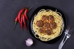 Spaghetti pasta with meatballs stock photography