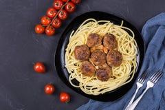 Spaghetti pasta with meatballs stock photos
