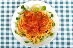 Spaghetti Pasta with Meatballs on a plate Stock Images