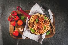 Spaghetti pasta with meatballs Royalty Free Stock Image