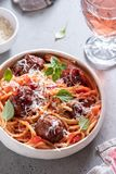 Spaghetti with meatballs and tomato sauce Stock Photo