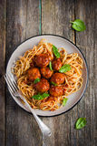 Spaghetti pasta  with meatballs and tomato sauce Stock Images