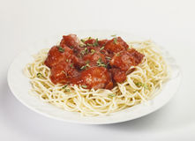 Spaghetti pasta with meatballs and tomato sauce Royalty Free Stock Images
