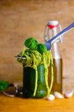 Spaghetti pasta with pesto royalty free stock photo