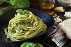 Spaghetti pasta with pesto sauce royalty free stock image