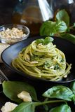 Spaghetti pasta with pesto sauce stock image