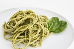 Spaghetti pasta with pesto sauce in white dish, closeup on white background. Royalty Free Stock Images