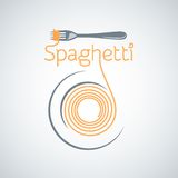 Spaghetti pasta plate fork background Royalty Free Stock Images