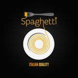 Spaghetti pasta plate fork menu background Royalty Free Stock Image