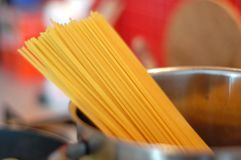 Spaghetti pasta in a pot Stock Images