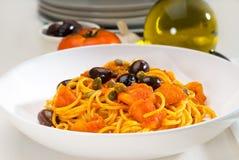 Spaghetti pasta puttanesca Stock Images