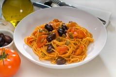 Spaghetti pasta puttanesca Royalty Free Stock Photography