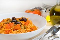 Spaghetti pasta puttanesca Stock Photo