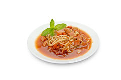Spaghetti pasta with sausage on black background,clipping path Royalty Free Stock Photo