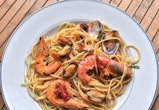 Spaghetti pasta with seafood Stock Photo