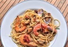 Spaghetti pasta with seafood. Italian recipe: spaghetti and seafood Stock Photo