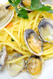 Spaghetti pasta and seafood  clams Stock Photography