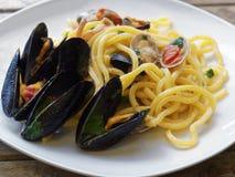 Spaghetti pasta seafood dish. Spaghetti pasta with seafood dish Stock Photos