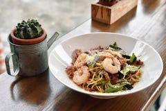 Spaghetti pasta with shrimp and bacon. stock photography