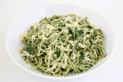 Spaghetti (pasta) with spinach and cheese Royalty Free Stock Photo