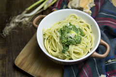 Spaghetti pasta and Spinach Dip Royalty Free Stock Photos