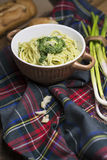 Spaghetti pasta and Spinach Dip Stock Image