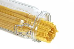 Spaghetti Pasta sticking out of a glass jar Stock Images