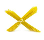 Spaghetti pasta tied in a bunch with string Royalty Free Stock Image
