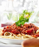 Spaghetti pasta with tomato beef sauce Royalty Free Stock Photos
