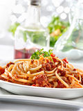 Spaghetti pasta with tomato beef sauce Royalty Free Stock Images