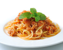 Spaghetti pasta with tomato beef sauce Royalty Free Stock Photography