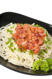 Spaghetti pasta with tomato sauce. And sausage Royalty Free Stock Image