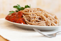 Spaghetti pasta with tomato sauce Royalty Free Stock Photos