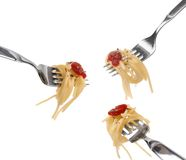 Spaghetti pasta and tomato sauce Royalty Free Stock Images