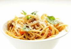 Spaghetti pasta with tomato sauce Stock Image