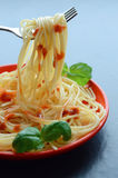 Spaghetti pasta with tomato sauce and garnish Royalty Free Stock Photos