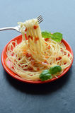 Spaghetti pasta with tomato sauce and garnish Royalty Free Stock Photo