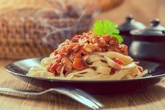Spaghetti pasta with tomato sauce. Italian food stock photo