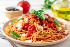 Spaghetti pasta with tomato sauce, mozzarella cheese and fresh basil in plate on white wooden background royalty free stock photo