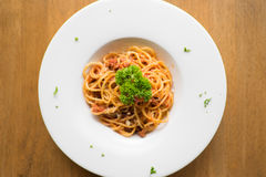 Spaghetti pasta with tomato sauce stock photo