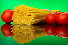 Spaghetti pasta with tomatoes and basil Royalty Free Stock Image