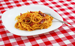Spaghetti pasta with tomatoes on on red-white tablecloth. Spaghetti with tomato sauce on on red-white tablecloth. Pasta with sun-dried tomatoes Stock Photography