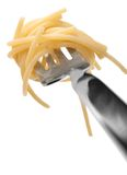 Spaghetti pasta  twirled on a fork Stock Photos