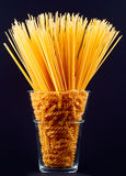 Spaghetti and pasta in vase Royalty Free Stock Photos