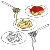Spaghetti pasta vector. Illustration of three plates of spaghetti and forks, in color and black and white  + vector EPS file Stock Photo