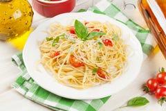 Spaghetti pasta and white wine Royalty Free Stock Photo